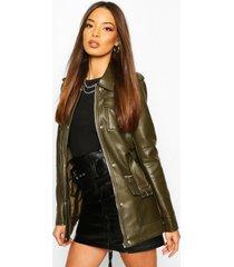 longline belted utility pu jacket, khaki