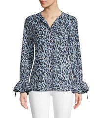 printed bell-sleeve button-down shirt