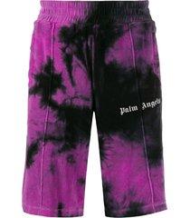 palm angels tie-dye print track shorts - purple