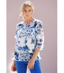 blouse en topje amy vermont wit::blauw