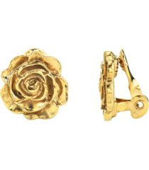 2028 14k gold-dipped flower button clip earrings