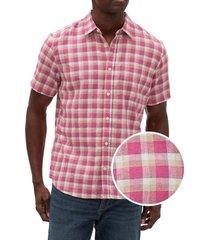 camisa lino blend manga corta rosado gap