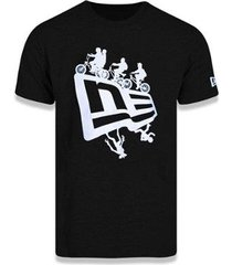 camiseta manga curta netflix stranger things preto/branco new era - masculino