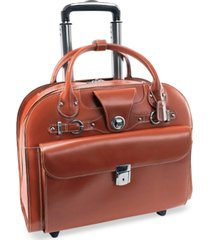 mcklein edgebrook leather wheeled laptop briefcase