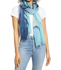 women's nordstrom print modal & silk scarf, size one size - blue