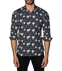 watch-print cotton button-down shirt
