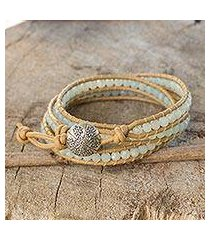 amazonite wrap bracelet, 'blue hydrangea' (thailand)