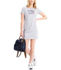 tommy jeans short-sleeve logo crewneck dress