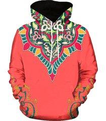 3d flower print pullover hoodie