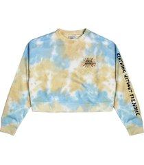 women's cross colours sunshine logo crop sweatshirt, size small - blue