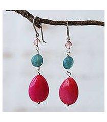 jade and cherry quartz dangle earrings, 'springtime colors' (brazil)