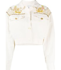 a.n.g.e.l.o. vintage cult 1980s embroidered western jacket - neutrals