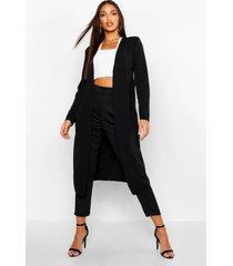 maxi duster jas met geplooide taille, zwart