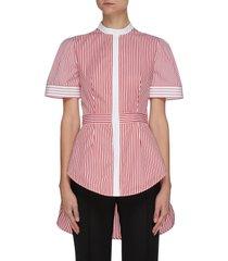 asymmetric hem stripe fitted shirt