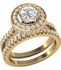 1.60 ct sim diamond 14k yellow gold finish 925 silver engagement bridal ring set