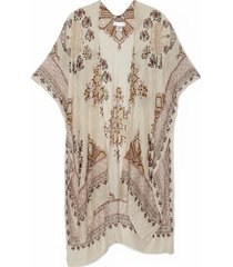women's lightweight printed paisley kimono ivory multi one size from sole society