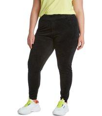 plus size women's juicy couture women's stretch velour leggings, size 2x - black