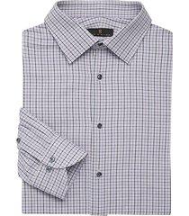 ike behar men's regular-fit check dress shirt - purple - size 17