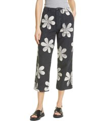 women's the great. daisy print cotton army pants, size 26 - black