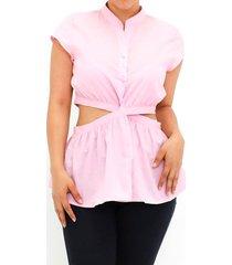 blusa rosada diseño abierto y silueta ajustada para mujer p86177