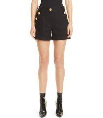 balmain low rise button detail cotton pique shorts, size 6 us in noir at nordstrom