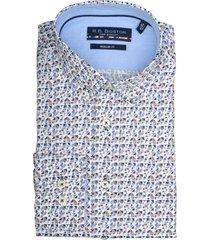 bos bright blue print overhemd 927670/224