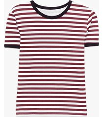 womens oh yeah that's stripe contrasting ringer tee - white