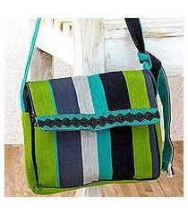 cotton messenger bag, 'luscious green' (guatemala)