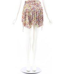 isabel marant santa multicolor floral ruched mini skirt multicolor/floral print sz: s