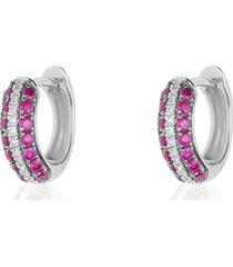 orecchini a cerchio in oro bianco con rubini 0,448 ct e diamanti 0,064 ct per donna