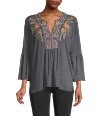 johnny was women's hevea embroidery bell-sleeve top - black - size xs
