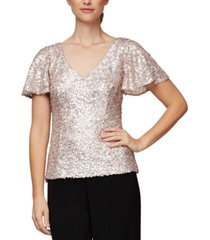 alex evenings sequined v-neck blouse