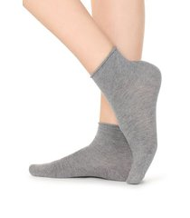 calzedonia extra short flat-knit bandless cotton socks woman grey size tu