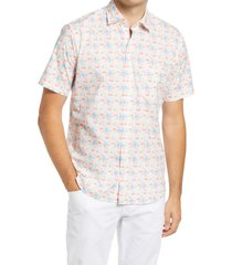 men's peter millar paradise short sleeve button-up shirt, size large - blue