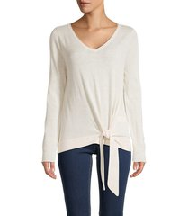 max studio women's front-tie knit pullover - oatmeal - size s