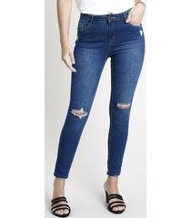 calça de sarja feminina super skinny cintura média destroyed azul escuro