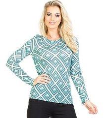 blusa estampada manga longa decote costas transpassado lucidez