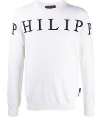 philipp plein logo intarsia virgin wool jumper - white