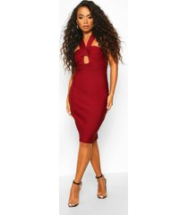 petite sculpting bandage twist detail midi dress, berry