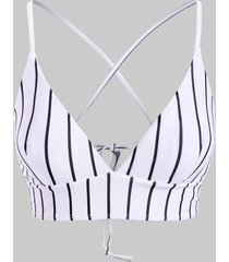 vertical striped crisscross back bikini top