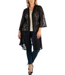 24seven comfort apparel sheer black lace open front plus size cardigan