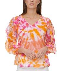 calvin klein ruffle-trim blouse