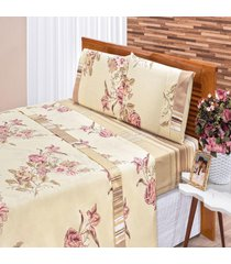 jogo de cama bia enxovais solteiro requinte 3 peças percal 180 floral rose,