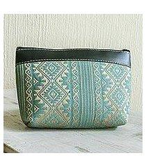 handwoven cotton cosmetic bag, 'sweet journey in aqua' (guatemala)