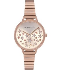 bcbgeneration ladies 3 hands slim rose gold-tone stainless steel bracelet watch, 34 mm case