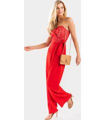 venice strapless front tie jumpsuit - red