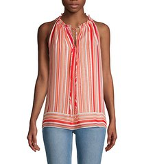 striped gathered halter top