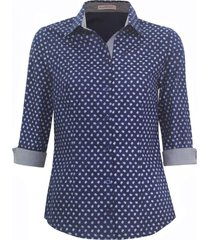 camisa intens manga 3/4 algodao azul - azul - feminino - dafiti