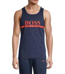 boss hugo boss men's beach cotton tank top - navy - size l