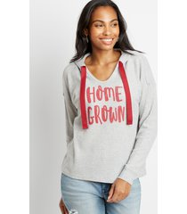 maurices womens red homegrown waffle knit hoodie